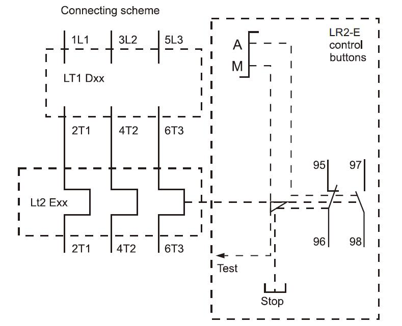 Connecting scheme for thermal overload relays