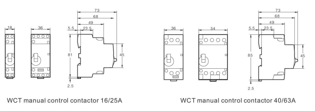 Dimensions for Manual Control Contactor