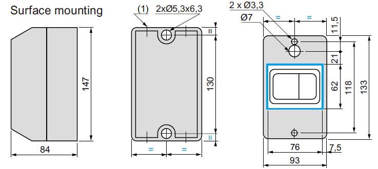 Dimensions for Motor Protective Breaker Enclosure