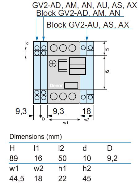 Dimensions for Motor Protective Breakers