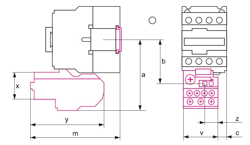 Dimensions for thermal overload relay