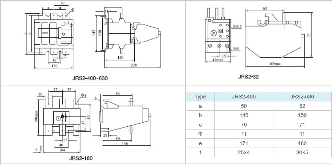 Thermal Relay JRS2 Dimensions 002