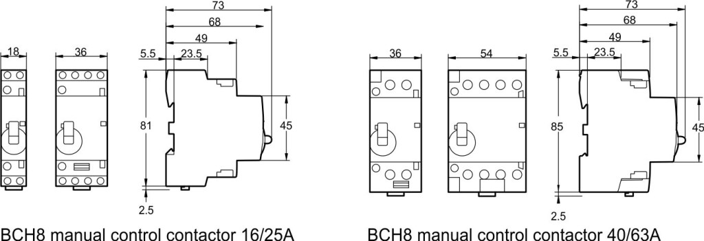 dimension of BCH8 modular contactor with manual control