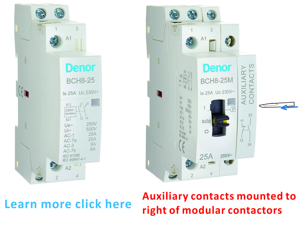Manual Control Modular Contactors and Auxiliary Contacts OFF-ON Denor